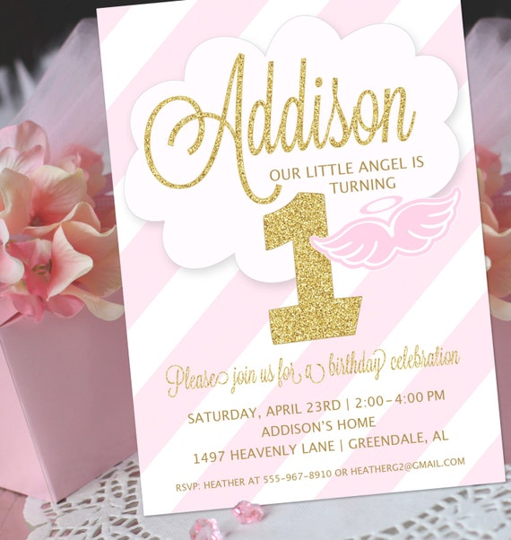 Angel Party Invitation Little Angel Birthday Invitation – 1st Birthday and Baptism Invitations