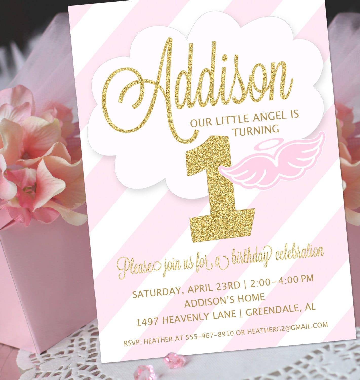 Angel Party Invitation Little Angel Birthday Invitation