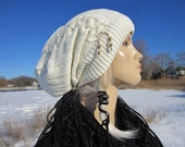 Oversized Slouchy Beanie Hat White Ivory Cable Knit Hat Cotton Leather Lace up Corset Tie Tam A1228