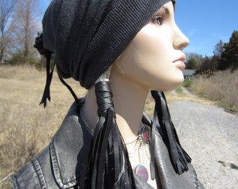 Black Leather Hair ties, Fringe Ponytail Holder Hair Wrap Extensions, BOHO Hair Jewelry Bohemian Clothing