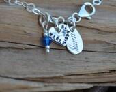 Personalized Charm Bracelet - Sterling Silver Charm & Birthstone - Sweet 16, 21st Birthday, Girls Birthday -Stamped Names Hebrew \ English