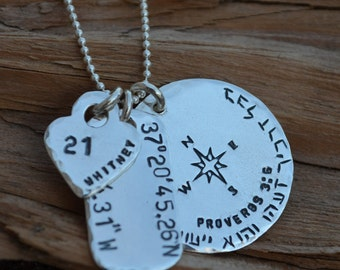 Charm Necklace - Disc, Dog Tag  & Heart or Star-Best Friends, Husband, Boyfriend, Wife, Sister, Girlfriend - Birthday, Anniversary,Christmas
