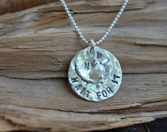 Personalized Sterling Silver Necklace with Birthstone - Hammered or Not  - Birthdays, Graduation, Weddings, Bridesmaids, Teachers Gift