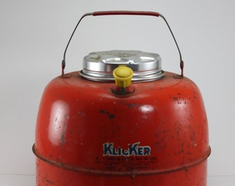 Vintage Thermos Orange Klicker Crock Liner Hot Or Cold Thermos Cooler Tailgating Glamping