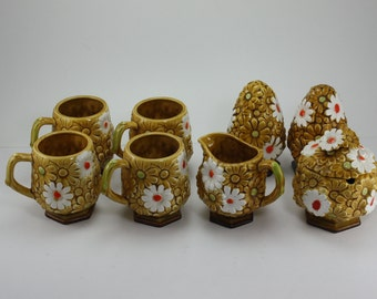 Vintage 70s Daisy Flower Ceramic Cups/Mugs, Sugar, Creamer, Salt & Pepper  - Fred Roberts Japan