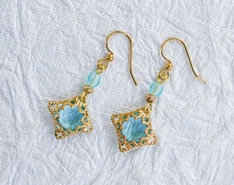 Aquamarine Blue & Gold Filigree Earrings - Delicate, Crystal