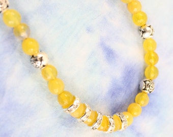 Poison Dark Yellow Faceted Agate Ball 8mm Necklace with Rhinestones and Silver Rose Buds