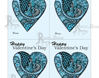 Instant Download- Light Blue Heart zentangle inspired cards- Great for Valentine's Day, Heart day, and the classroom - Printable Card