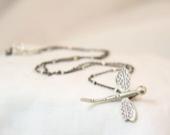 Dragonfly  necklace. Sterling silver dragonfly necklace. Dragonfly pendant. Satellite