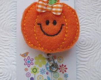 Halloween Smiley Pumpkin Badge Reel - Retractable Badge Reel -