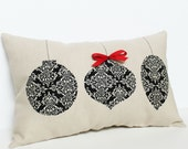 Christmas Ornament Pillow - black damask with red bow