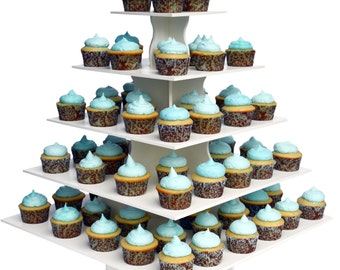 5 Tier Square Cupcake Tower Stand-Reusable and Adjustable - Holds 80-100 Cupcakes - Perfect for Weddings, Birthdays, Holidays or any Event