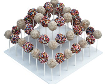 3 Tier Square Cake Pop Stand-Reusable and Adjustable - Holds up to 50 sticks - Perfect for Weddings, Birthdays, Holidays or any Event