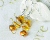 Yellow Citrine Earrings Citrine November birthstone gemstone jewelry Wire wrapped Sterling Silver Dangle Gold Freshwater Pearls gift for her