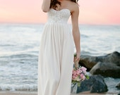 Bohemian Wedding Gown Beaded Sequin Long Strapless Wedding Dress- Verona-sample sale ready to ship