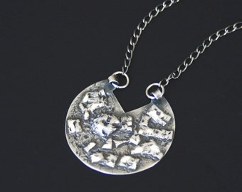 """Sterling Silver Pendant Necklace Organic Large Circular Sculpted Textured Handmade """"Ruins Necklace"""""""