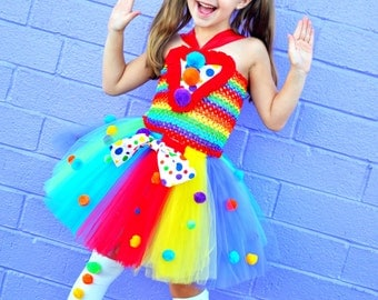 Girls Carnival Tutu Dress..Rainbow ..Birthday Outfit.. Circus Birthday- rainbow tutu- 1st birthday- Clown- Circus Dress