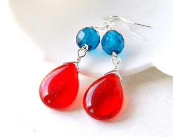 red blue jelly drops beaded dangle earrings, silver earrings, czech glass earrings, french hook earrings,