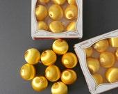30% SALE / vintage yellow satin unbreakable christmas ball ornaments / pyramid / set of 9