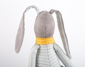 Easter Stuffed rabbit doll - Light brown bunny wearing blue white striped shirt, gray jeans and Yellow scarf  ,timohandmade eco doll