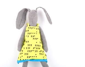 Plushie Softie doll , stuffed bunny doll , Houndstooth softie rabbit doll , Cuddling bunny , popular stuffed toys , handmade soft animals