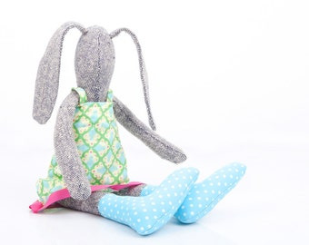 Easter toys , Bunny Toy , Cuddle Bunny , Easter Rabbit , stuffed bunny , Plush gray rabbit doll , handmade eco doll , Woodland Plushie Toy