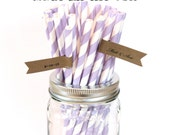 Lavender Paper Straws, 100 Purple Wedding, Baby Shower, Lilac Straws, Table Setting, Paper Goods, Princess Party, Made in USA Party Supplies