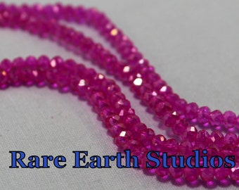 Pink Faceted Glass Beads 3x4mm 60315012