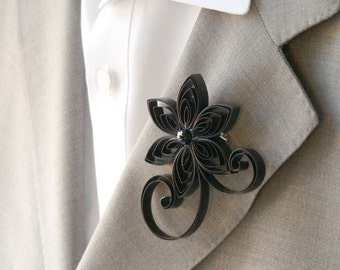 Black Boutonniere, Black Buttonhole, Black Wedding Boutonniere Flowers Prom, Floral Pins, Groom Wedding Flowers for Best Man