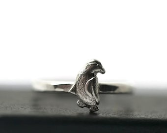 Sterling Silver Penguin Ring, Silver Bird Ring, Animal Jewelry, Animal Ring