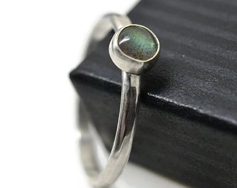 5mm Labradorite Ring, Hammered Sterling Silver, Natural Gemstone Ring, Minimalist Jewelry, Simple Ring