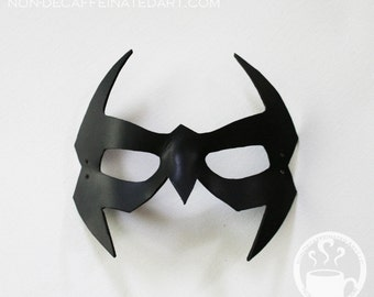 Night Hero - Leather Mask - in black