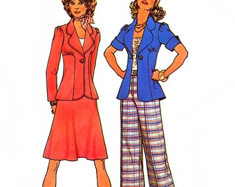 Simplicity 6897 Vintage 70s Misses' Unlined Jackets, Short Bias Skirt and Pants Sewing Pattern - Uncut - Size 12 - Bust 34