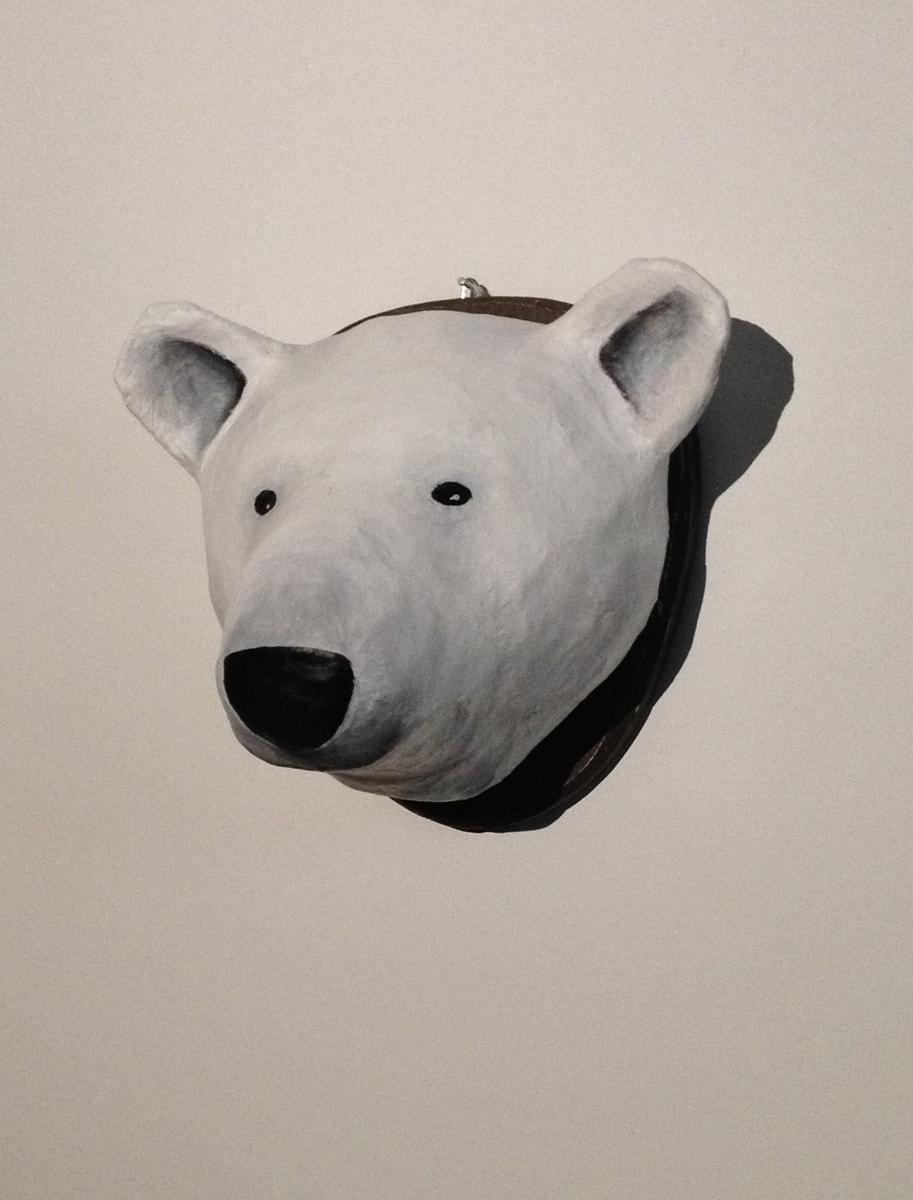 Paper Mache Polar Bear Head Wall Mount