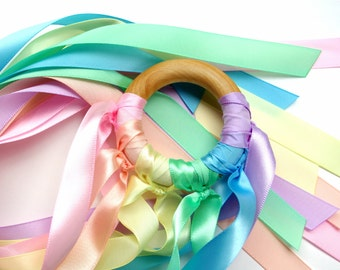 Pastel Rainbow Hand Kite, Waldorf Whirligig Ribbon Streamer for Imaginative Play