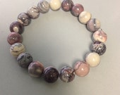 Royal Imperial Porcelain Jasper 10mm Round Bead Stretch Bracelet With Sterling Silver Accent