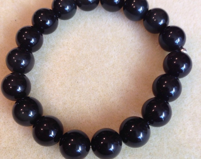 Rainbow Obsidian Bracelet, Obsidian Beaded Bracelet, Bead Bracelet, 10mm Bracelet, Stretch Bracelet, Beaded Bracelets, Bead Bracelets