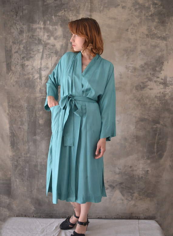 1960s Jade Green Silk Robe