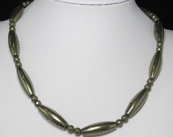 Necklace 19 inch IN Pyrite olive and 925 Silver