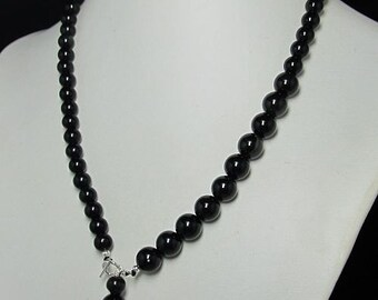 Necklace 20 inch IN black Obsidian and 925 Silver