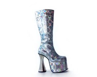 90's Silver Hologram Mega Platform Metal Heel Knee GoGo Boots // 9