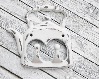 Metal Cast Iron Shabby White Tea Pot Hook- Kettle Apron Towel Coat Wall Hook Holder,Shabby Chic Kitchen Decor,Distressed Hooks