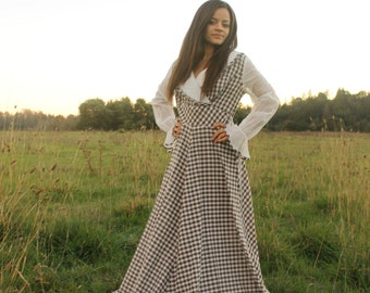 GINGERBREAD HOUSE Vintage 1970's Maxi Dress Kitschy Checkered Brown and White Collared Folk Dress Party