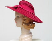 Vintage 1930s Hat / 30s Red Wide Brimmed Straw Sun Hat