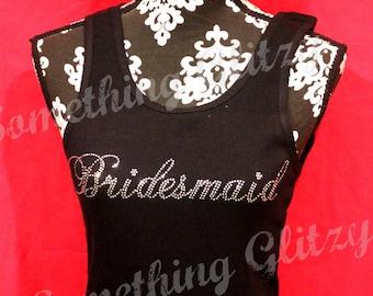 Bridesmaid Script bling Tank, Bridesmaid Bling Tee, Bridesmaid Rhinestone Shirt, Bridesmaid Bling shirt, Bridesmaid Rhinestone Tank, Bling