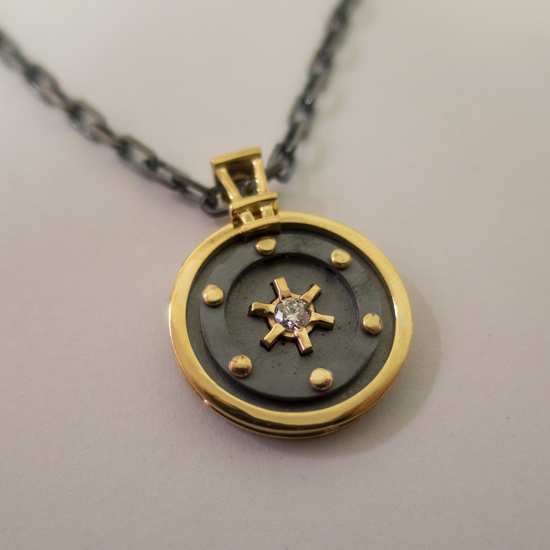 Round Pendant 14k Gold Diamond Pendant 14k Gold Necklace Mens Pendant Solid Gold Pendant Naval Pendant Sea Pendant Steampunk Pendant Buy Online