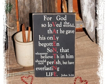 Valentine For God So Loved John 3:16 -WOOD SIGN- Valentine's Day Gift Valentine Decor Bible Verse Christian Home Decor