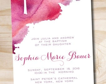 Watercolor Baptism Invitation - Printable Invitation