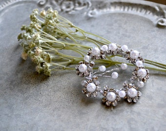 Unique Pearl and Crystal Bridal Hair or Belt Accessory