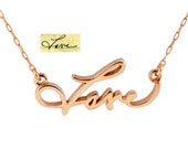14K Rose Gold Necklace - Handwritten Necklace - Gold Love Necklace In Your Own Handwriting - Custom Gold Necklace - Rose Gold Name Necklace